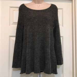 LC Lauren Conrad Gray Lace-up Swing Sweater Size M